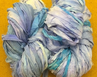 Sari Silk Chiffon Ribbon Hand Dyed, Silk Ribbon, Wide Silk Ribbon, Silk Chiffon Ribbon, Pastel Blue, Lilac Blue, Aquamarine, 18