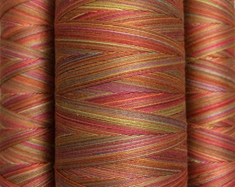 Multicoloured, Hand Dyed Cotton Machine Quilting or Embroidery, Thread, Eygyptian Cotton 40wt., 150m (162yds) or 750m (820yds, Ref.SM03