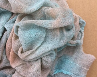 Hand Dyed Cotton Scrim, 6 metre length, Openweave Fabric, Cotton Gauze, Scarf length for Nuno Felting,  Colour No.89 Patina