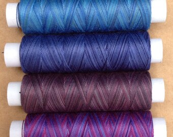 Hand Dyed Cotton Machine Threads, Individual Spools 150m each