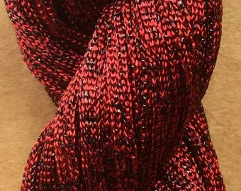 Hand Dyed Sparkle Viscose Ribbon, 10/167 Viscose Ribbon,  Embroidery, Thread, Canvaswork, Colour Rich Red
