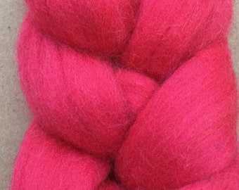 Merino Wool Tops, 70's quality, 21 micron, Wool Roving, Spinning, Feltmaking, Needlefelting, Rose