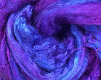Silk Brick, Grade A1 Mulberry Silk Brick, Spinning, Feltmaking No.05, Violet