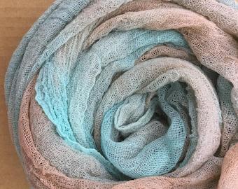 Hand Dyed Cotton Scrim, 6 metre length, Openweave Fabric, Cotton Gauze, Scarf length for Nuno Felting,  Colour No.89 Patina
