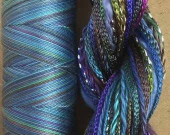 Hand Dyed Embroidery Thread Selection, Two of a Kind, No.57 Oil Slick, Hand Dyed Machine Quilting Thread, Cordmaking, Quilting, Scrapbooking