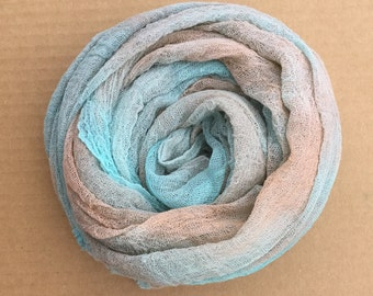 Cotton Scrim, No.89 Patina, Hand Dyed Gauze, Openweave Fabric, Dyed Butter Muslin, Nuno felting, UK Seller