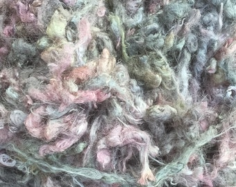 Silk Throwsters Waste, Silk Filament Waste, Hand Dyed Mulberry Silk Waste Fibre, Colour No.56 Pebble