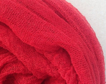 Hand Dyed Cotton Scrim/Gauze/Art Cloth/Scarf for nuno felting/art and mixed media projects.  Colour - Christmas Red