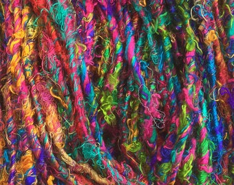 Sari Silk Yarn, Variegated Silk Fibre Yarn, Artisan Yarn, Exotic Yarn, Colour - Multicoloured