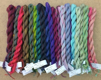 10% Discount, Hand Dyed Embroidery Threads, MEDIUM COTTON, Complete set of 52 colours, Embroidery Floss