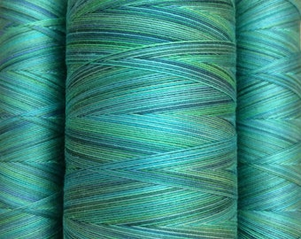 Hand Dyed Cotton Machine Quilting Thread, No.20 Jade, 150m (162yds) or 750m (820yds),  Eygyptian Giza Cotton 40 weight
