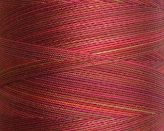 Hand Dyed Cotton Machine Quilting Thread, Machine Embroidery Thread,  Eygyptian Cotton 40 weight, 750m (820yds) Colour No.02 Antique Red