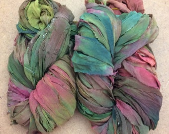 Sari Silk Bridal Chiffon Ribbon, Hand Dyed Silk Chiffon Ribbon, Sari Ribbon, ref. 101