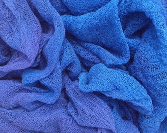 Hand Dyed Cotton Scrim, 6 metre length, Openweave, Cotton Gauze, Table Runner, Photography Prop, Nuno Felting, Colour No.03 Sky