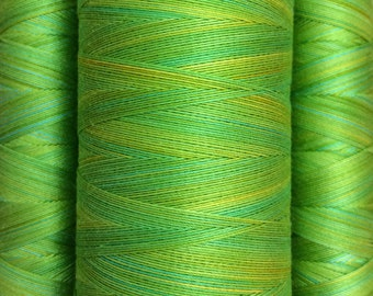 Hand Dyed Cotton Machine Quilting Thread, No.50 Lime and Lemon 150m. (162yds) or 750m. (820yds), Eygyptian Giza Cotton 40 weight