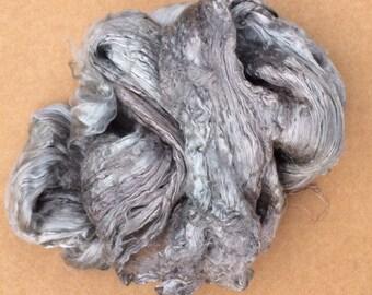 Hand Dyed Grade A1 Mulberry Silk Brick, Silk Roving, Luxury Silk Fibre,Spinning, No.56 Pebble