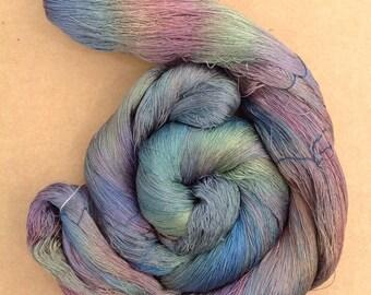 Hand Dyed Silk Yarn, Spun Silk Yarn, Weaving, Lace Knitting, 60/2 weight, No.53 Spruce