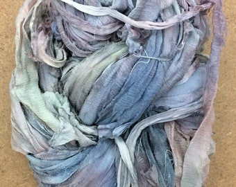 No.56 Pebble, Sari Silk Chiffon Ribbon Hand Dyed, Silk Ribbon, Wide Silk Ribbon, Silk Chiffon Ribbon