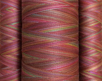 Multicoloured, Hand Dyed Cotton Machine Quilting or Embroidery Thread, Eygyptian Cotton 40wt., 150m (162yds) or 750m (820yds, Ref.SM02