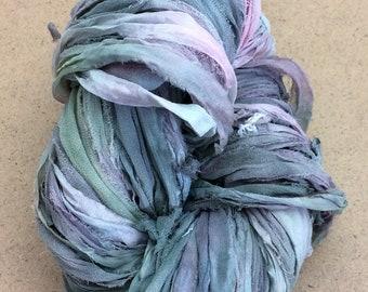 Sari Silk Bridal Chiffon Ribbon, No.56 Pebble, Hand Dyed Silk Chiffon Ribbon, Sari Ribbon, ref.35