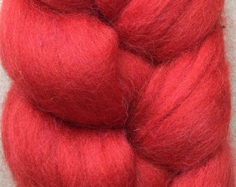 Merino Wool Tops, 70's quality, 21 micron, Wool Roving, Spinning, Feltmaking, Needlefelting, Brick Red
