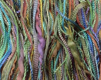Hand Dyed Embroidery Thread, One Off No.09 Apple, Textured Threads, Variegated Threads, Textile Art, Mixed Media Supply, UK Seller