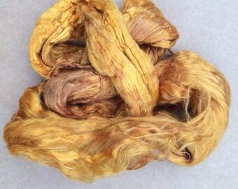 Hand Dyed Grade A1 Mulberry Silk Brick, Spinning, Feltmaking Colour No.07 Yellow Ochre