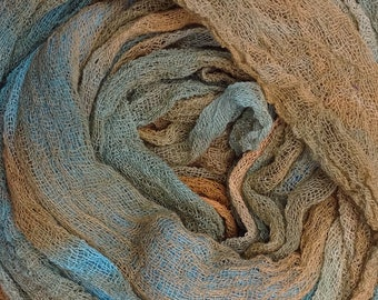 Hand Dyed Cotton Scrim, 6 metre length, Openweave, Cotton Gauze, Table Runner, Photography Prop, Nuno Felting, Colour No.21 Rust