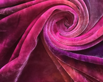 Hand Dyed Silk Velvet, variegated Silk Fabric, Colour No.91 Pot Pourri, Dusky Pinks and Purples