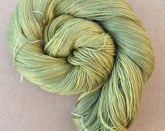 Silk and Baby Camel Yarn 2 ply - Colour No.82  Chartreuse, Knitting, Crochet, Weaving, Ref.732