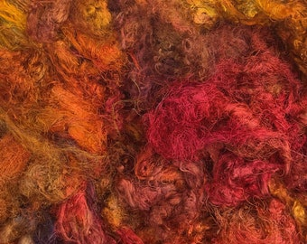 Silk Throwsters Waste, Silk Filament Waste, Hand Dyed Mulberry Silk Waste Fibre, Variegated Orange, Red, Brown