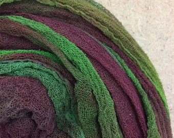 Hand dyed Cotton Scrim, Colour No.54 Moss, Gauze, Art Cloth, Scarf for nuno felting, Art and Mixed Media projects