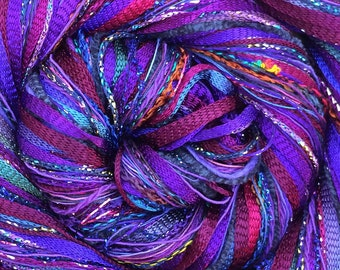 Purple Happy Bag, Mixed Thread Selection, Hand Dyed Cotton Threads, Viscose Threads, Pack colour choices across the spectrum
