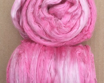 Silk Brick, Hand Dyed A1 Mulberry Silk Tops, Spinning, Feltmaking, Silk Fusion, Silk Roving, Shades of Pastel Pink