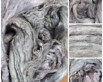 Mulberry Silk Brick, Hand Dyed, Grade A1, Silk Roving, Luxury Silk Fibre,Spinning, No.56 Pebble
