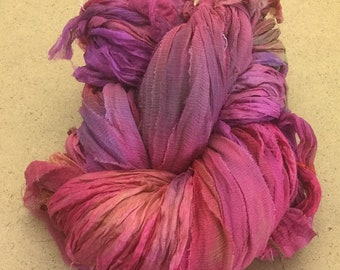 Sari Silk Chiffon Ribbon Hand Dyed, Sari Silk Ribbons, Silk Ribbon, Wide Silk Ribbon, Silk Chiffon Ribbo, Ref.18