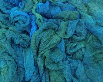 Hand Dyed Cotton Scrim, 6 metre length, Openweave Fabric, Cotton Gauze, Table Runner, Photography Prop, Nuno Felting,  Colour No.08 Lagoon