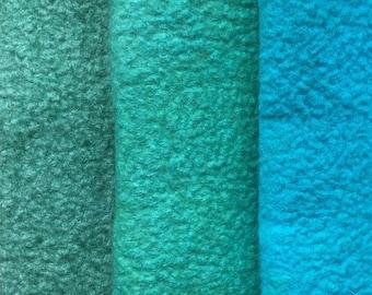Felt Trio, Hand Dyed Wool and Viscose Felt, 3 Piece Felt Selection, Aquamarine, Jade, Bright Turquoise, 1336