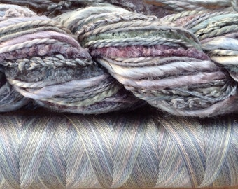 Silk Harmony, No. 56 Pebble, Mulberry Silk Combination - Hand Dyed Hand and Machine Threads in a combination Pack, Grey Tones