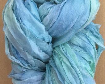 Sari Silk Chiffon Ribbon Hand Dyed, Silk Ribbon, Wide Silk Ribbon, Silk Chiffon Ribbon, Colour No.33 Aquamarine