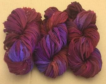 Sari Silk Chiffon Ribbon Hand Dyed, Sari Silk Ribbons, Silk Ribbon, Wide Silk Ribbon, Silk Chiffon Ribbo, Ref.14