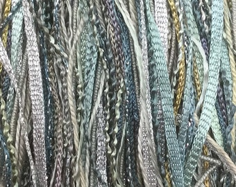 Silver Grey, One Off Special, Limited Edition, Hand Dyed Embroidery Thread, Textured Threads, Variegated Threads