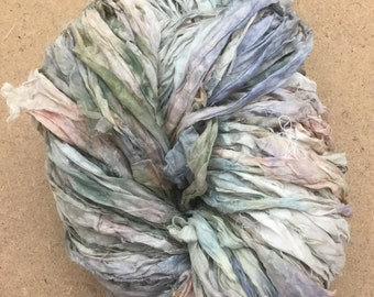 No.22 Silver Birch, Sari Silk Chiffon Ribbon Hand Dyed, Silk Ribbon, Wide Silk Ribbon, Silk Chiffon Ribbon, 14