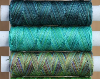 Mediterranean, Hand Dyed Cotton Machine Embroidery Thread, Machine Quilting Thread, Tatting, Crochet, Creative Embroidery/Quilting