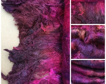 Hand Dyed Mulberry Silk Laps, Colour No.17 Ruby, Textured Silk, Combed Silk Laps, Feltmaking, Spinning, Red, Cerise, Burgundy