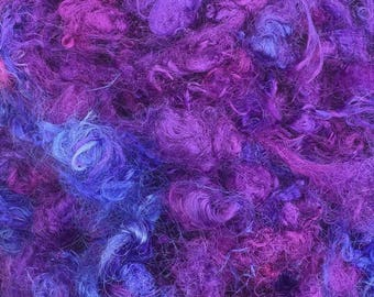Silk Throwsters Waste, Silk Filament Waste, Hand Dyed Mulberry Silk Waste Fibre, Colour No.05 Violet