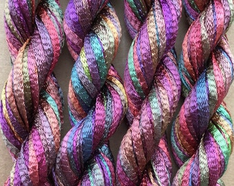 Hand Dyed Viscose Ribbon, 10/167 Viscose Ribbon, Rayon Ribbon, Embroidery, Thread, Canvaswork, Needlepoint, Colour No.16 Jenny's Rainbow