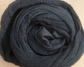 Hand dyed Cotton Scrim, Charcoal, Gauze, Art Cloth, Scarf for nuno felting, Art and Mixed Media projects