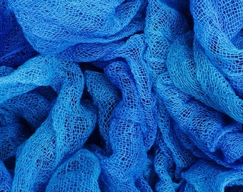 Hand dyed Cotton Scrim /Gauze/Art Cloth/Scarf for nuno felting, art and mixed media projects. No.03 Sky, Blue, Turquoise, 2m