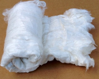 Silk Laps (No.1), Mulberry Silk, Silk Sheet, Carded Laps, Feltmaking, Spinning, Needlefelting, Silk Fusion, Dyeing